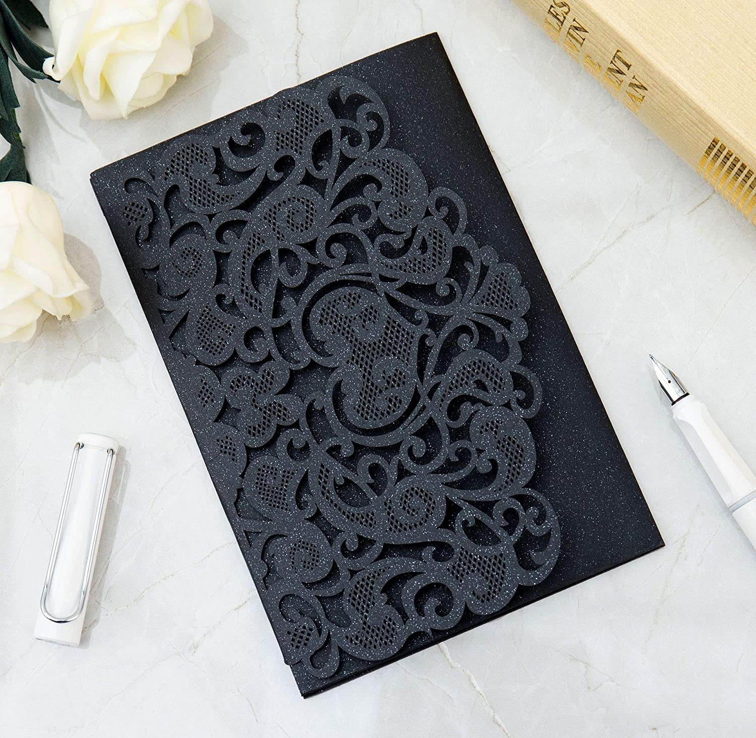 Amazon.com: DH-LINK Wedding Invitation Cards Laser Cut Floral Design Invites  Pocket for Bridal Showers, Engagement Parties, Invitation Covers(Black,100pcs):  Kitchen & Dining