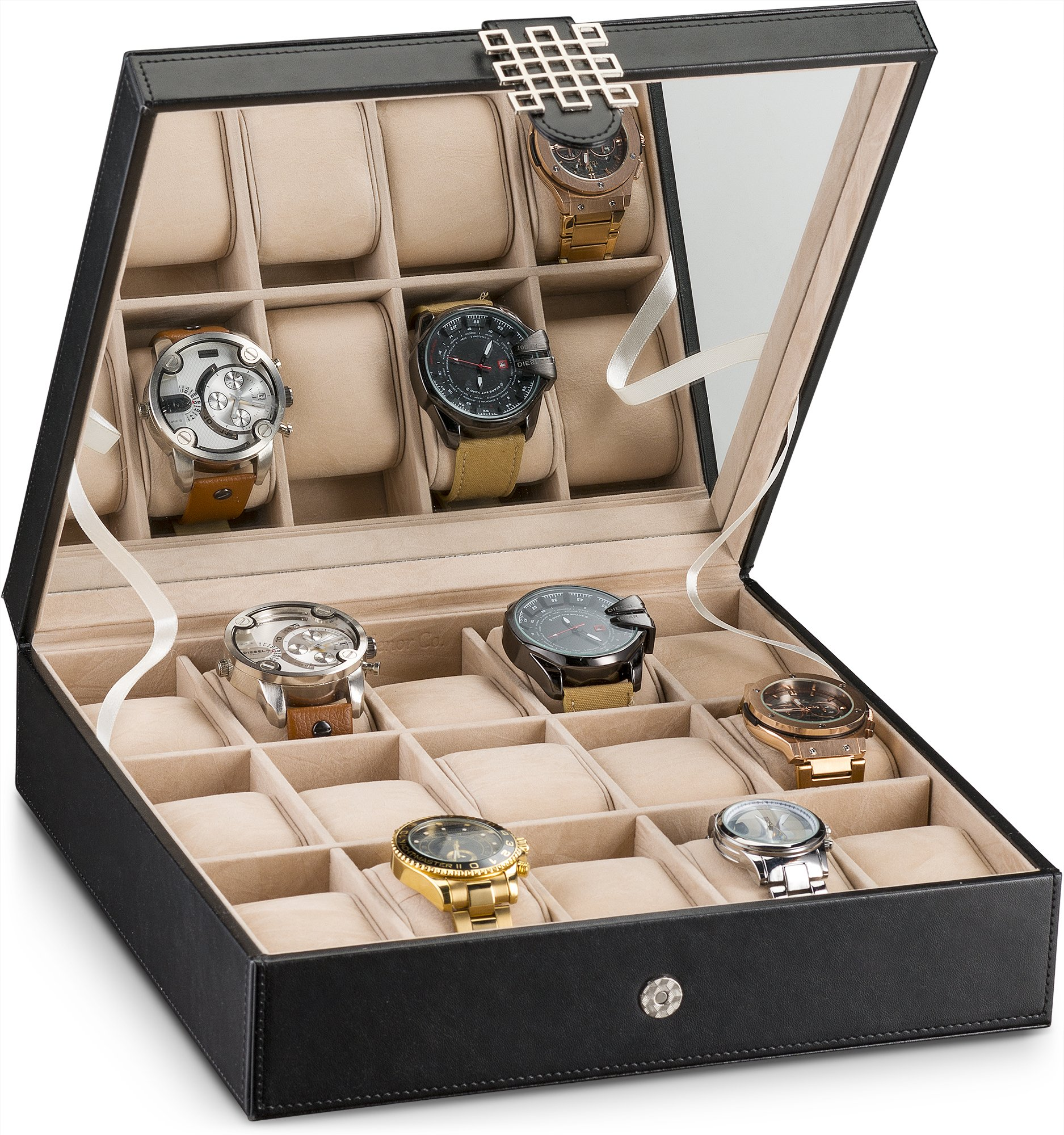 Glenor Co Watch Box for Women - 15 Slot Classic Watch Case Display Organizer with Modern Buckle -Black