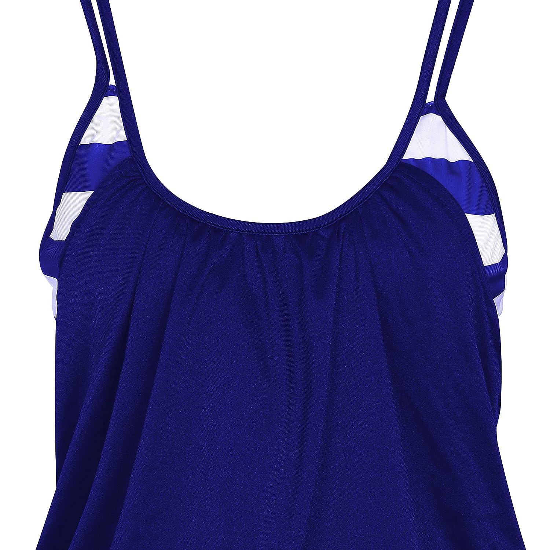 SUNNOW Damen Bikini Set Streifen Zweiteilig Schwimmanzug Tankini Bademode Strand Bikini Oberteile H/öschen