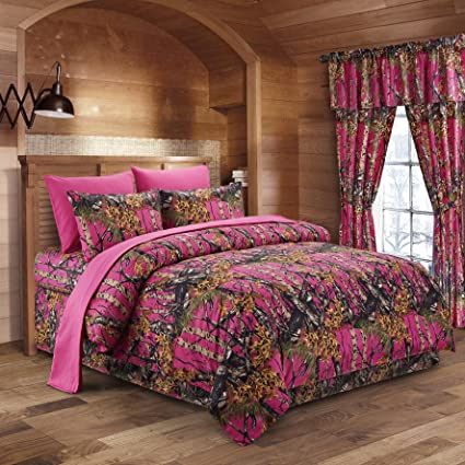 the woods hot pink camouflage queen 8pc premium luxury comforter sheet pillowcases and - Pink Camo Bedding