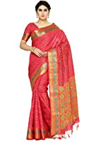 MIMOSA Art Silk Saree With Blouse Piece(4076-2142-Strw_Red Free Size)