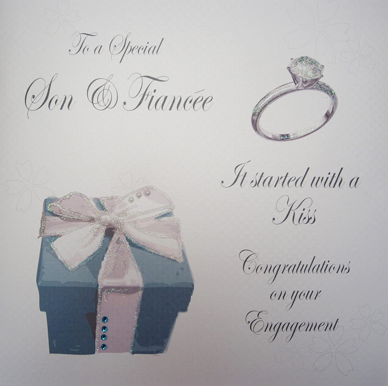 white cotton cards to a special son and fiancee congratulation on