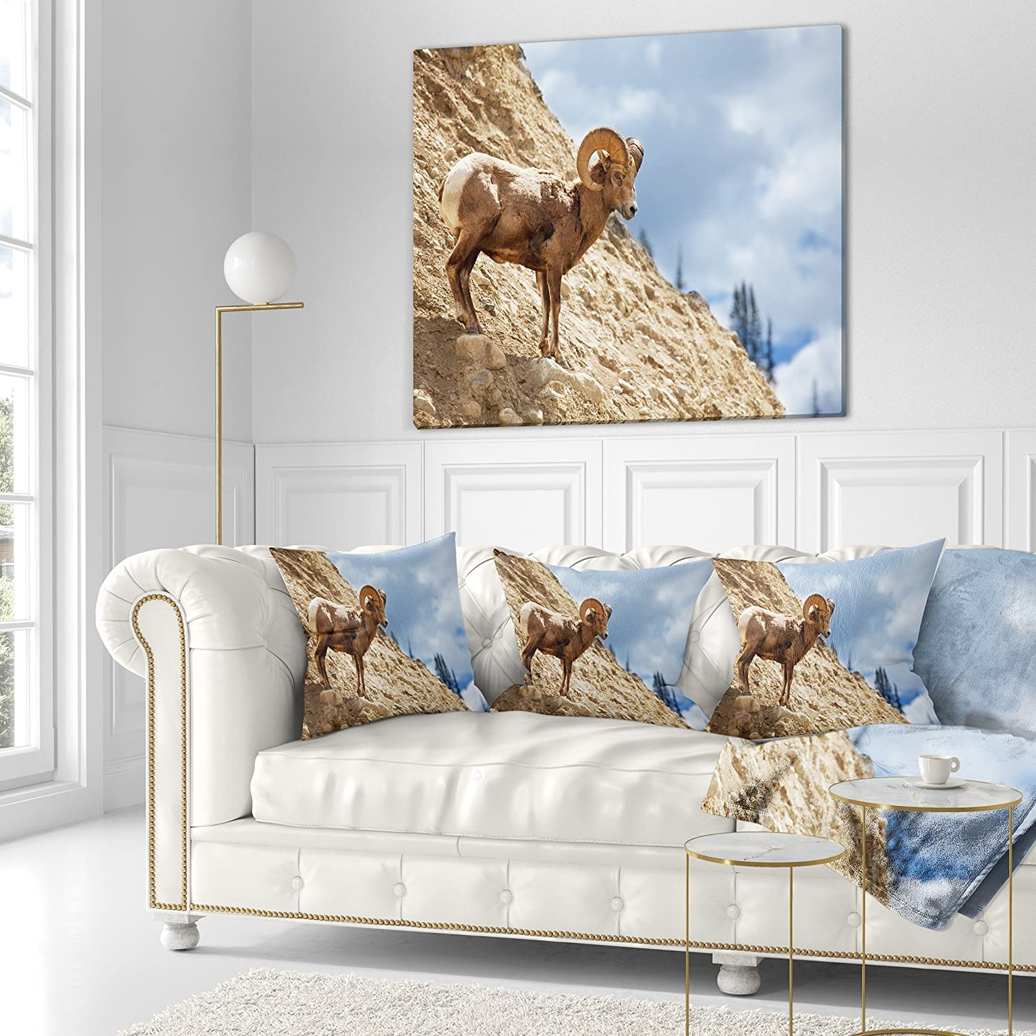 Insert Printed On Both Side x 26 in Designart CU12813-26-26 Single Goat on Rocky Mountain Animal Cushion Cover for Living Room in Sofa Throw Pillow 26 in