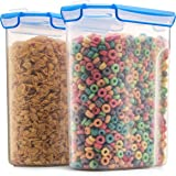 Airtight Cereal Containers Storage Set - 2-Pack [168 oz. 21 cup] With Silicone Sealed Locking Lids, Kitchen Pantry Containers For Baking, Flour, Sugar Rice Etc. Slim Space Saving for Neatly Organizing