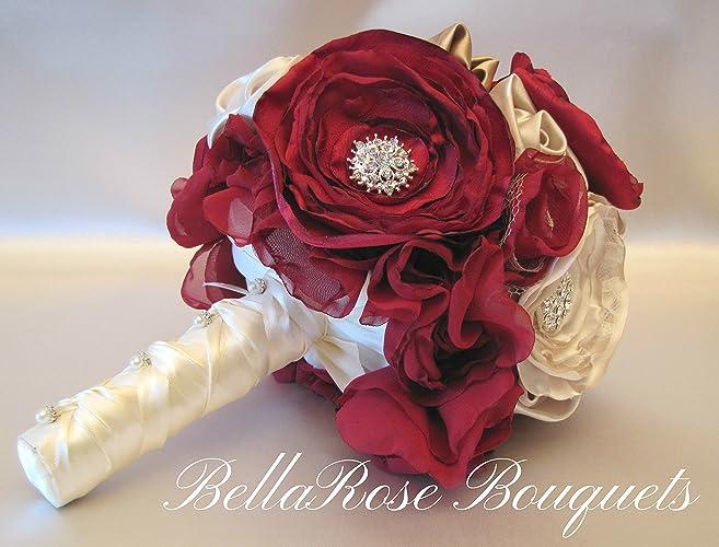 Amazon.com: Marsala Wedding Bouquet, Burgundy Fabric Flower ...