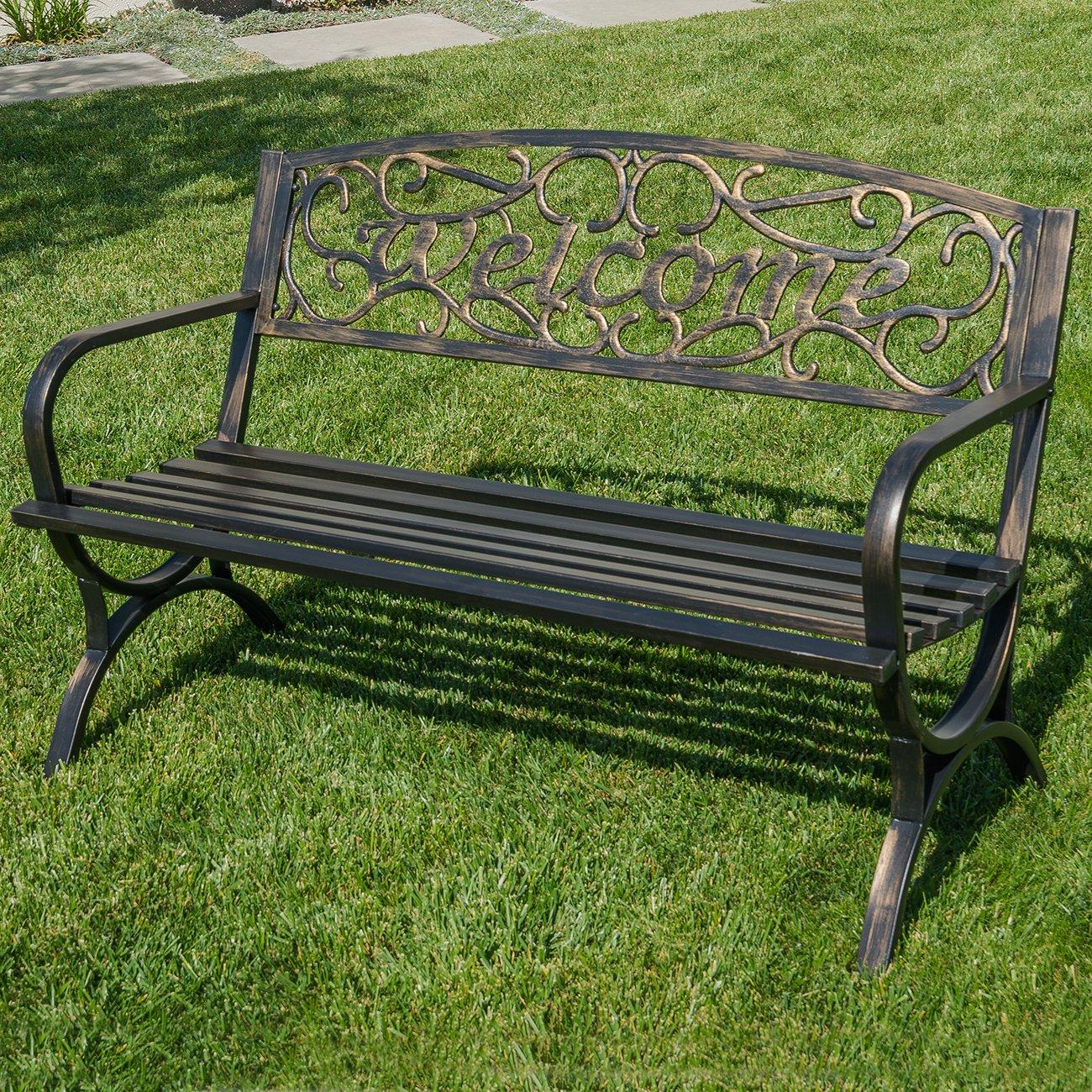 Belleze 50'' Welcome Vines Decorative Patio Garden Outdoor Park Bench Seat Backyard, Bronze
