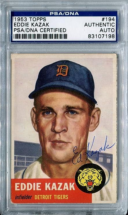 Eddie Kazak Signed Original 1953 Topps Baseball Card 194