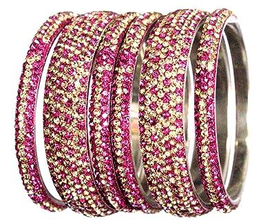 fee1b1f290576 Hyderabad Jewelry 6PCS8ss2Tone Fuchsia + Gold Handmade Metal Bangles Bling  Rhinestone Bracelets 3   7 Rows