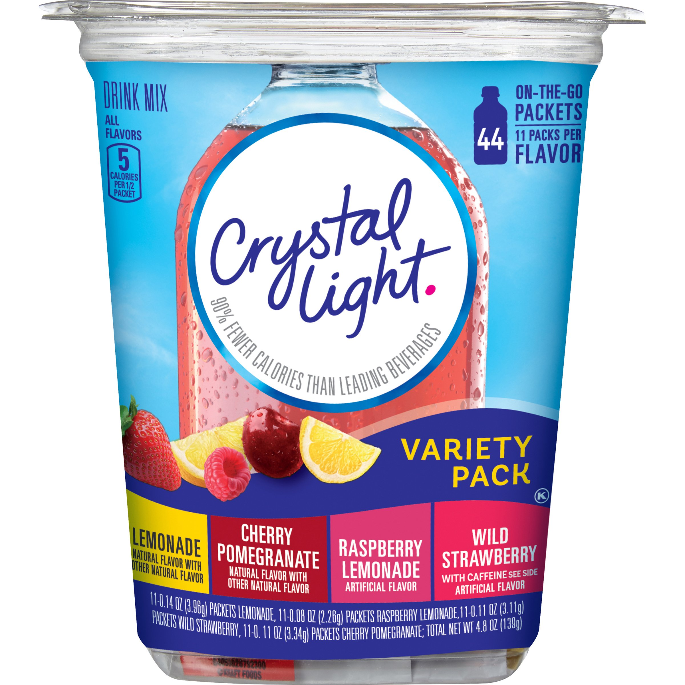 Crystal Light Drink Mix, Variety Pack, On The Go Packets, 44 Count