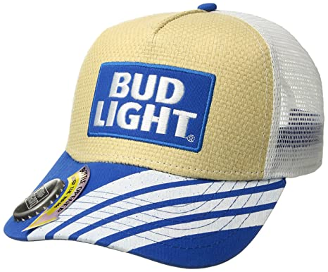 aecfe0f4ea018 Budweiser Men's Bud Light Straw Baseball Cap with Bottle Opener Brim,  Natural Black, one Size at Amazon Men's Clothing store: