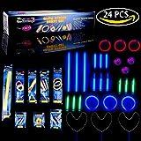Glow Stick, Bracelets, Whistle, Earring, Teeth Braces, Ring, Shoes Tie Accessories Kit Fun Little Toys - 24 pcs