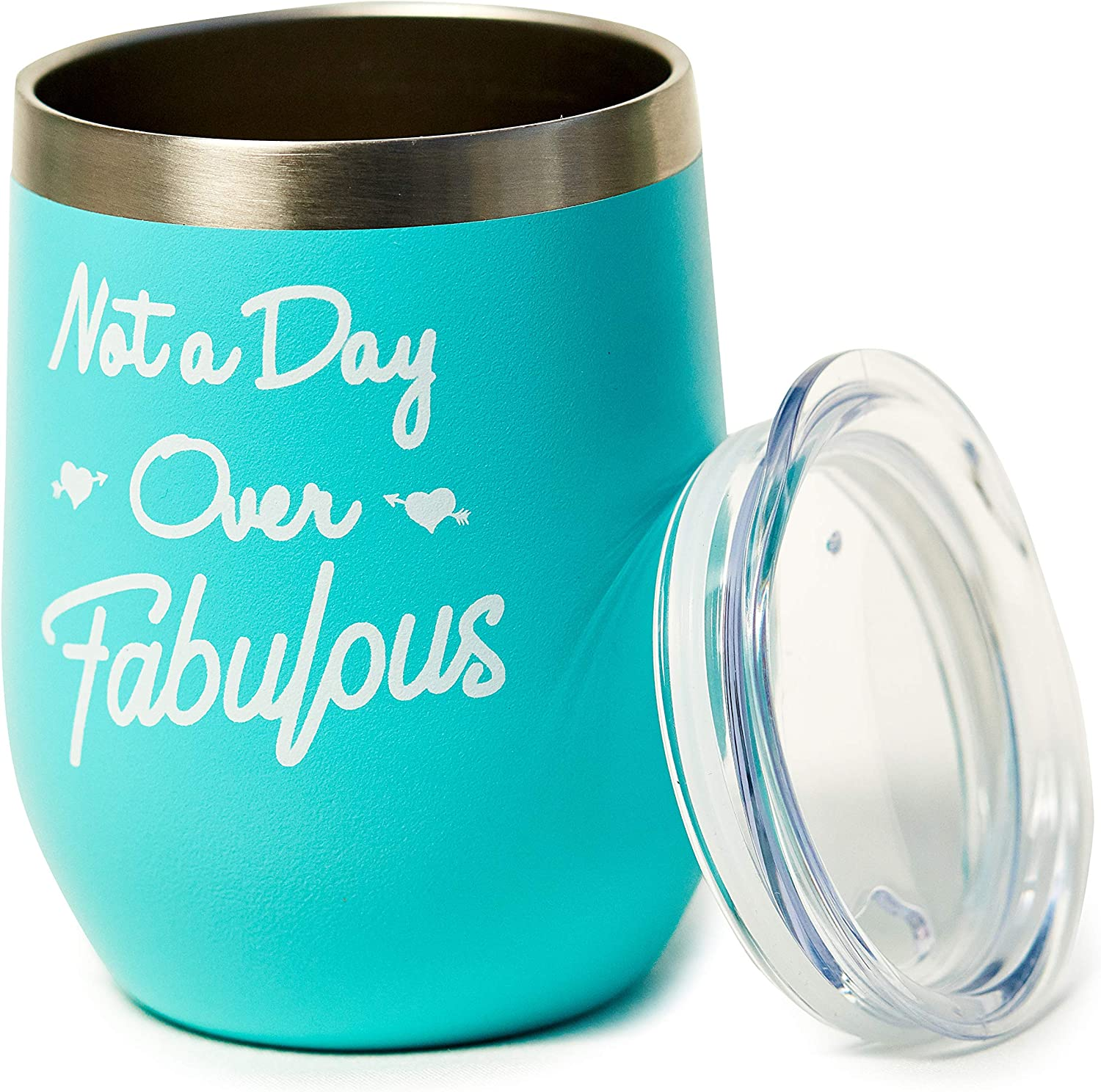 Not A Day Over Fabulous - Gifts for Her Birthday - Birthday Gifts for Women, Mom, Girlfriend, Best Friends, Daughter, Grandma, Wife, Teacher - 12oz Insulated Wine Tumbler with Lid - Mint