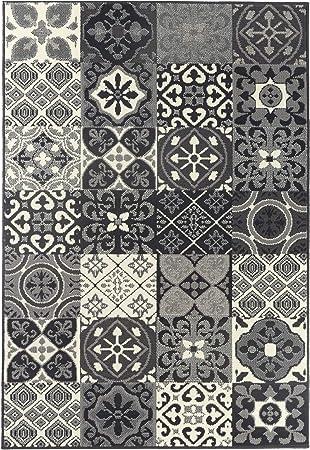 Debonsol Tapis Salon Patchwork Carreaux Ciment Gris 120x170cm