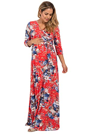 00e886c7d1e Image Unavailable. Image not available for. Color  PinkBlush Maternity Red Floral  Sash Tie Maternity Nursing Maxi Dress ...