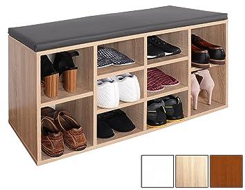 RICOO Schuhregal Mit Sitzfläche Schuhschrank WM033 ES A Schuhablage  Schuhkommode Organizer Boden Standregal Garderobe