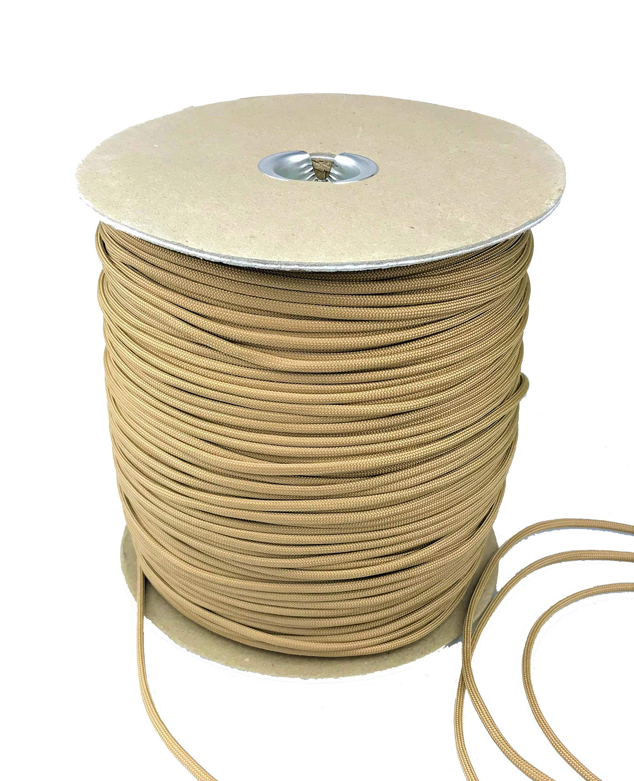 Paracord 550 Type III 7 Strand Multi-Purpose Parachute Cord in 1000 and 100 Foot Spools. Used for Camping, Hiking, Boating, Survival, and Crafting. 100% Nylon-Made in the USA (Tan, 1000.00)