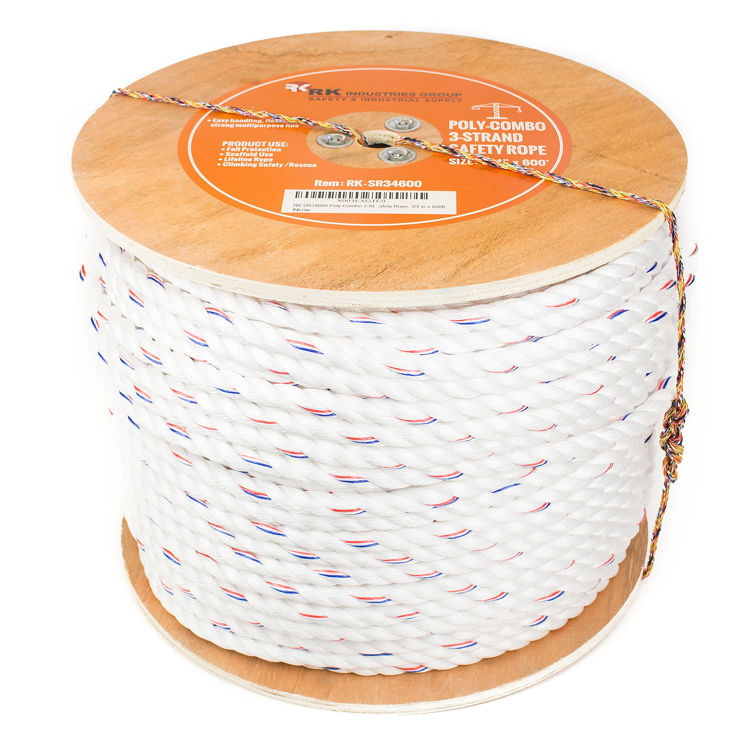 RK SR34600 Poly-Combo 3-Strand Safety Rope, 3/4 in x 600 ft