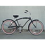 "Micargi Rover GX 1-speed for men (MATTE BLACK/RED), 26"" Beach Cruiser Bike Schwinn Nirve Firmstrong Style"