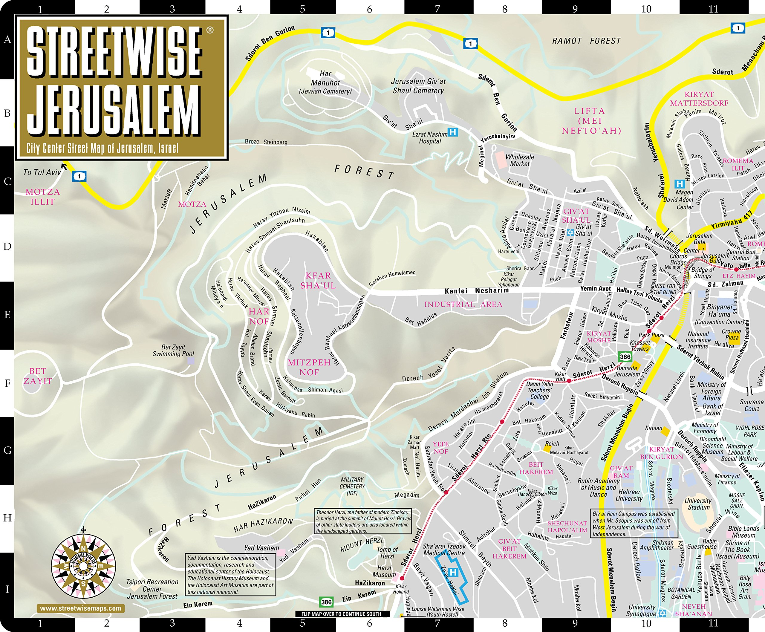 Streetwise jerusalem map laminated city center street map of streetwise jerusalem map laminated city center street map of jerusalem israel streetwise maps inc 9781886705234 books amazon gumiabroncs Choice Image