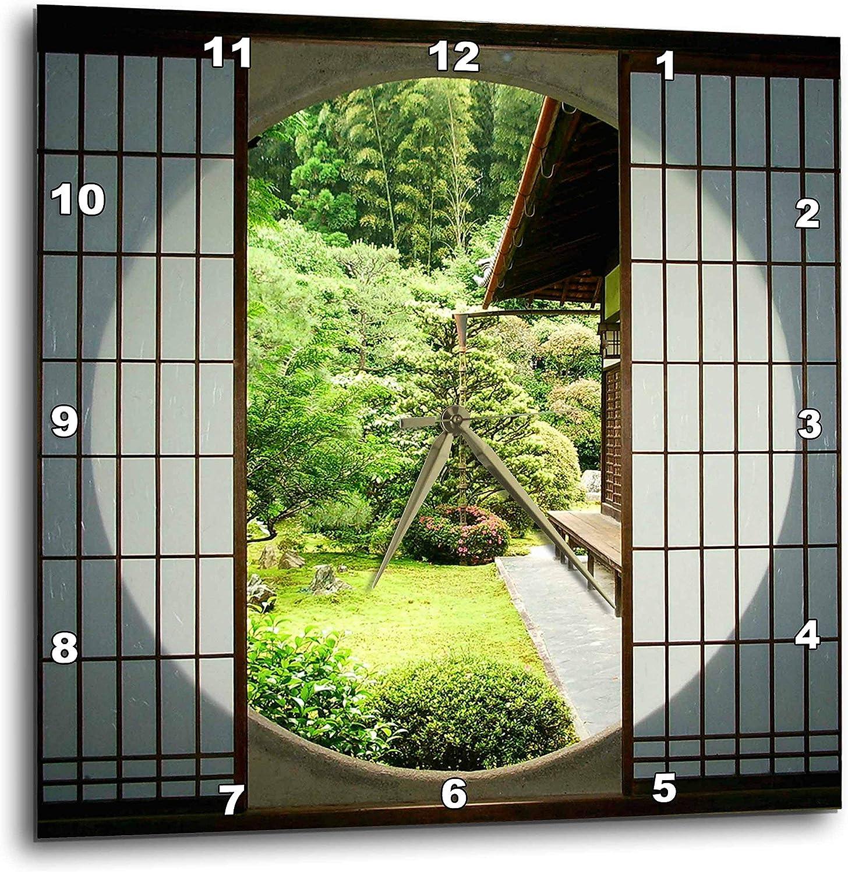 "3dRose DPP_76381_3 Round Window, Zen Garden, Kyoto, Japan AS15 STE0102 Shin Terada Wall Clock, 15 by 15"""