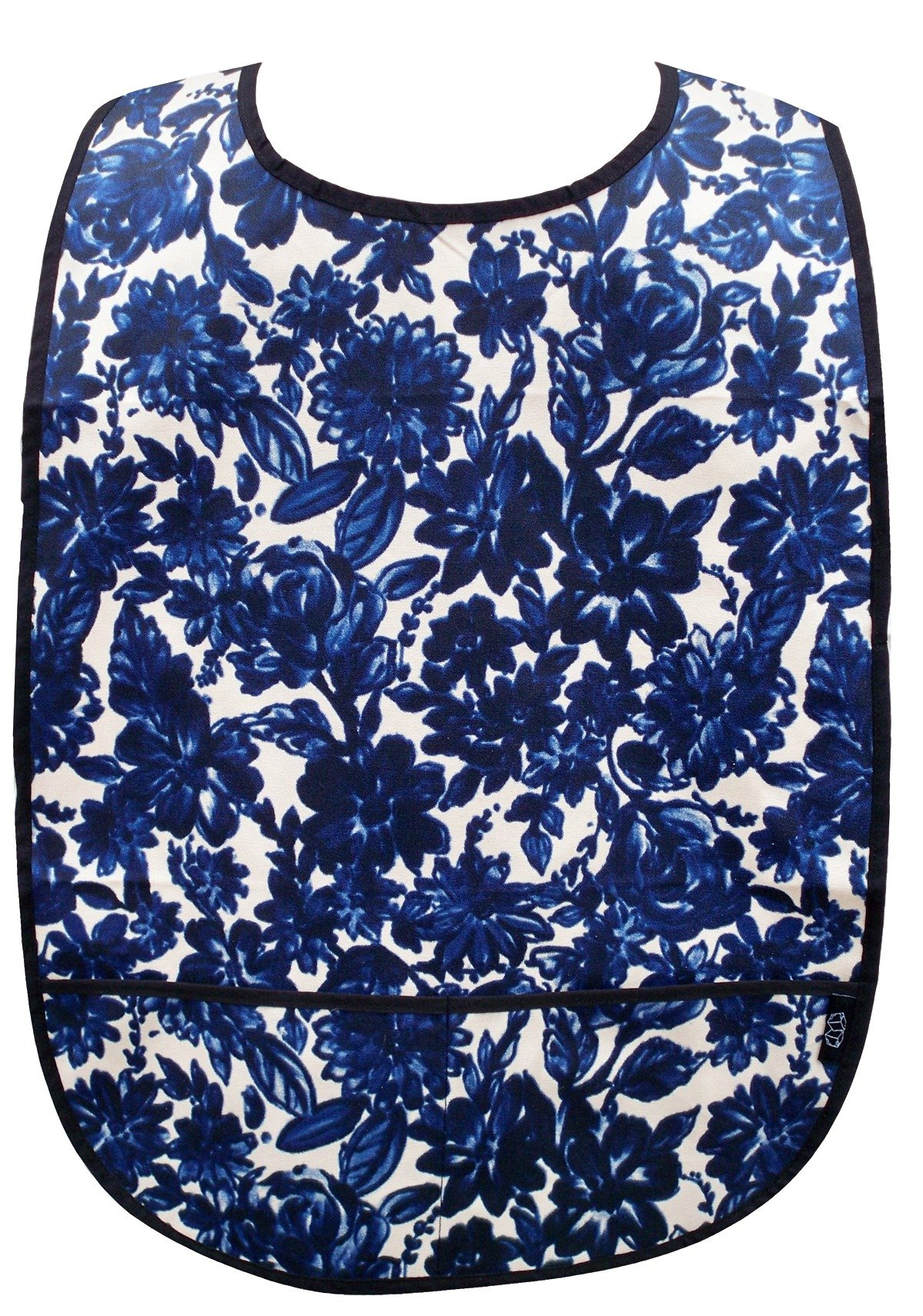 Adult Clothing Protector with Front Pockets (Navy Floral)