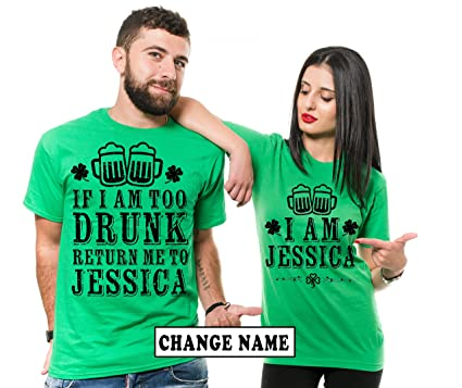 e348b0882 Silk Road Tees Custom Name Personalized Green Shirts ST. Patrick's Day  Drinking Shirts Party Couple