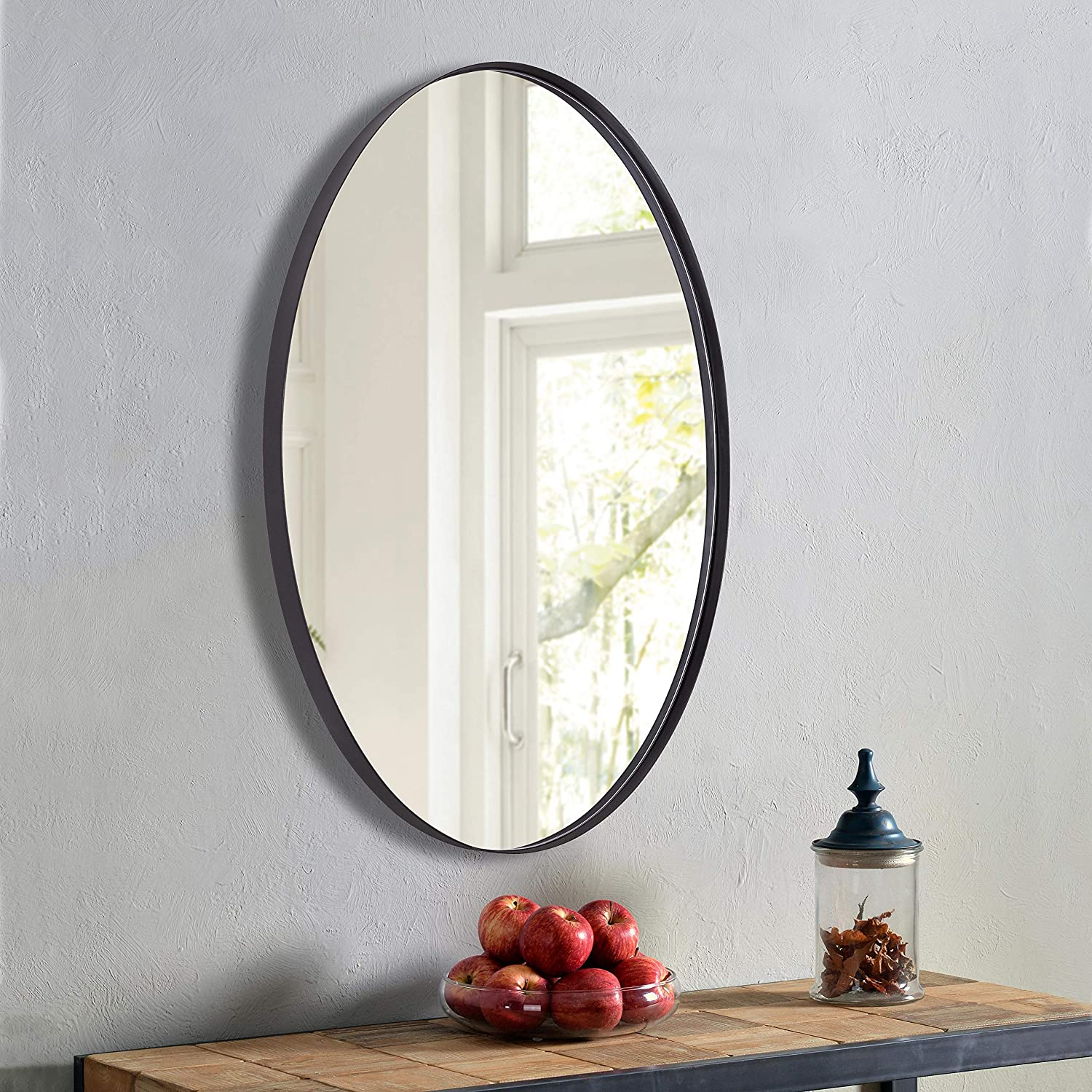 Clavie Oval Mirror for Wall Stainless Steel 22 x 30 Inch Bathroom Mirror for Wall Modern Large Wall Mirror Decorative Wall Mounted Mirror Design for Bathroom, Living Room, Bedroom, Entryways