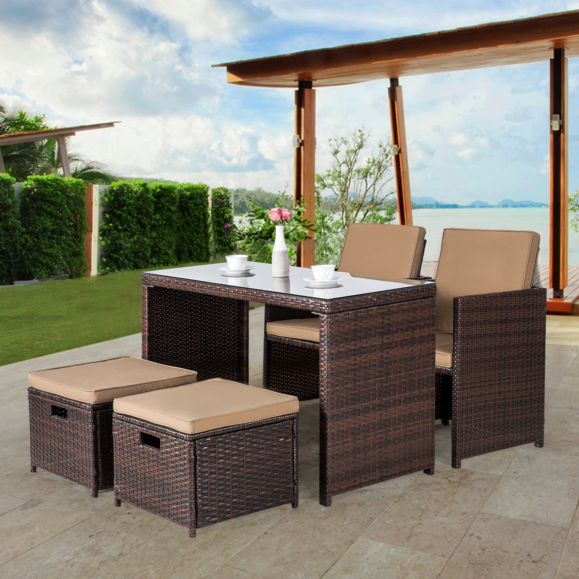 Cloud Mountain Outdoor 5 Piece Rattan Wicker Furniture Bar Set Dining Set Cushioned Patio Furniture Set Space Saving - 1 Patio Dining Table & 4 Conversation Bistro Set, Brown by Cloud Mountain (Image #1)