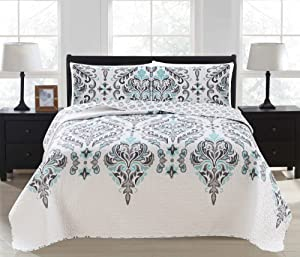 3-Piece Printed Quilt Set with Shams. All-Season Cotton-Polyester Bedspread with Ornamental Geometric Pattern. Lauretta Collection (King, Grey)