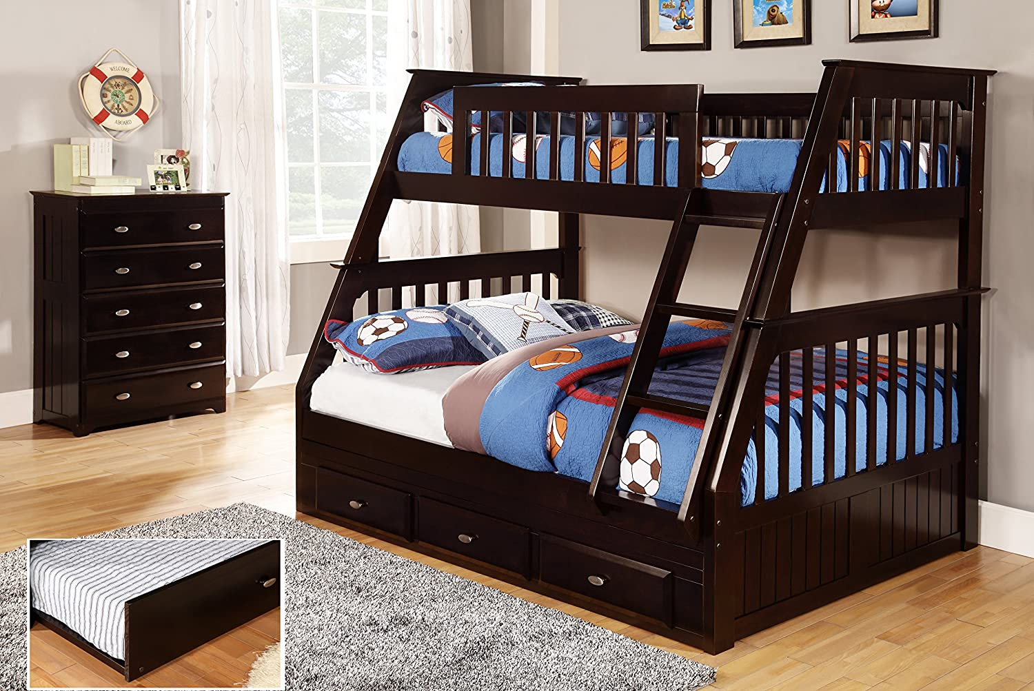 Amazon Com Discovery World Furniture Twin Over Full Bunk Bed With 3