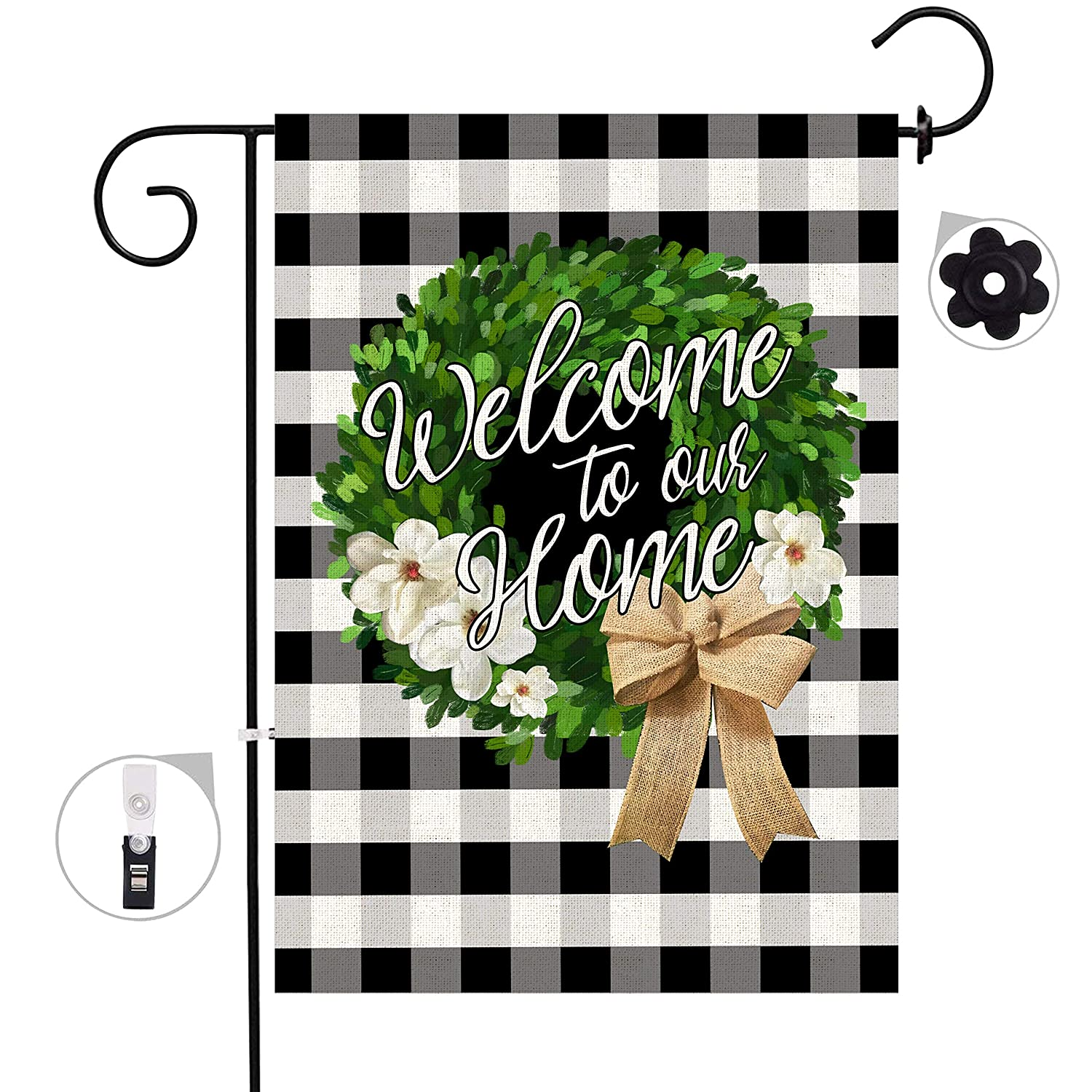 Bonsai Tree Welcome Boxwood Wreath Small Burlap Garden Flag, Double Sided Buffalo Plaid House Flags, Welcome to Our Home Farmhouse Yard Outdoor Banners 12.5 x 18 Prime