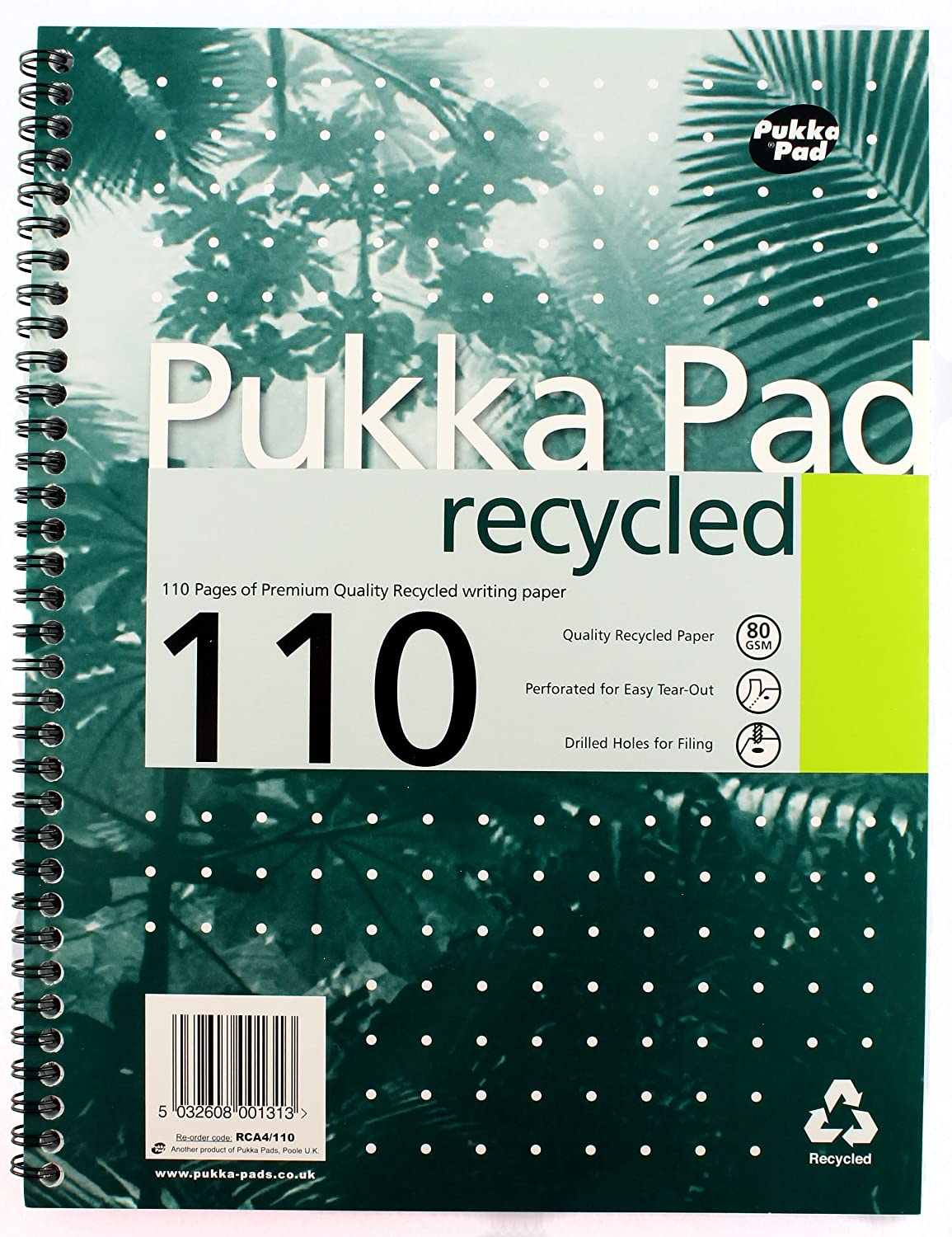 Pukka Pad Notebook Wirebound Recycled 80gsm Ruled and Margin 4 Hole 110 Pages A4 Ref RCA4 Pack of 3
