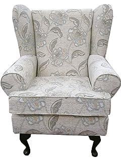 Mink chenille Queen anne design wing back fireside high back chair
