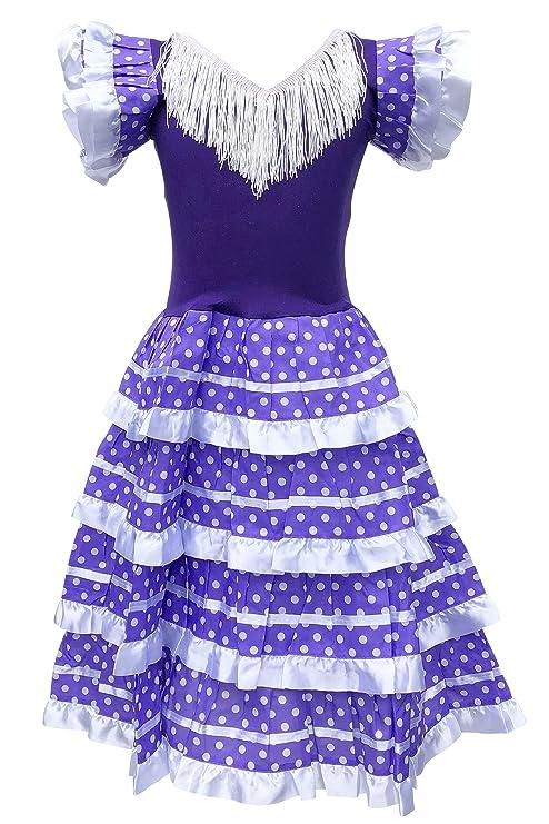 La Senorita Vestido Flamenco Español Traje de Flamenca Chica/niños Violeta Blanco: Amazon.es: Juguetes y juegos