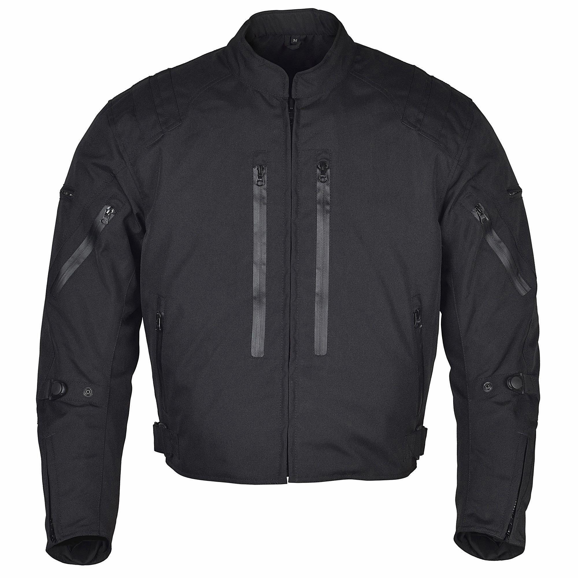 Men Motorcycle Waterproof Textile Race Jacket CE Protection Black MBJ057 (M)