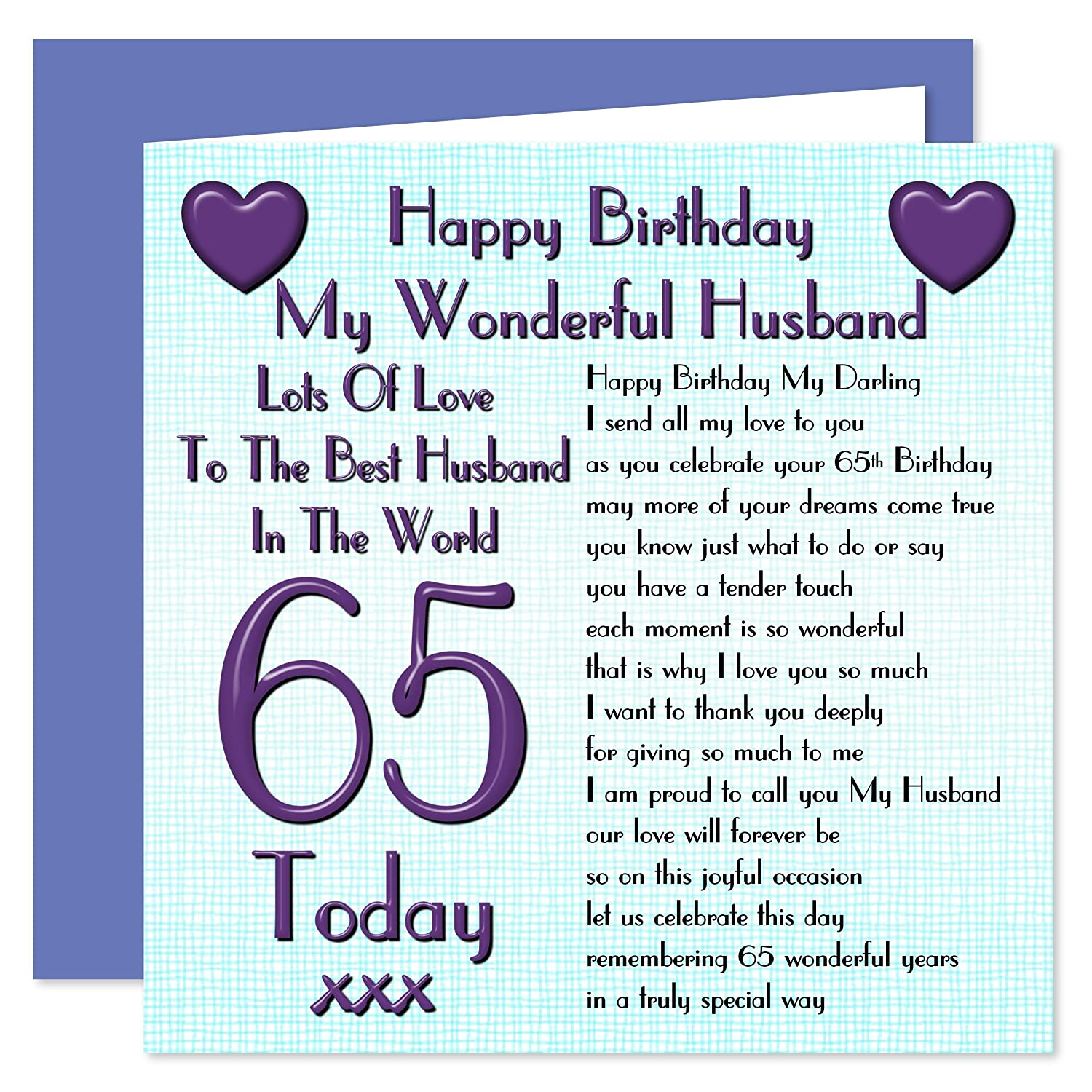 Image of: Poem Husband 65th Happy Birthday Card Lots Of Love To The Best Husband In The World 65 Today Amazoncouk Office Products Amazon Uk Husband 65th Happy Birthday Card Lots Of Love To The Best Husband