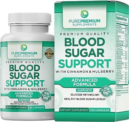 Premium Blood Sugar Support Supplement by PurePremium (Non-GMO) Support Glucose Metabolism and Cardiovascular Health
