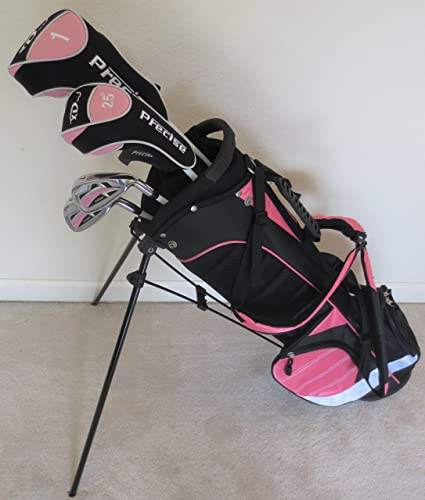 Amazon Com Girls Junior Golf Club Set With Stand Bag For Kids Ages 8 12 Pink Color Right Handed Golf Club Complete Sets Sports Outdoors