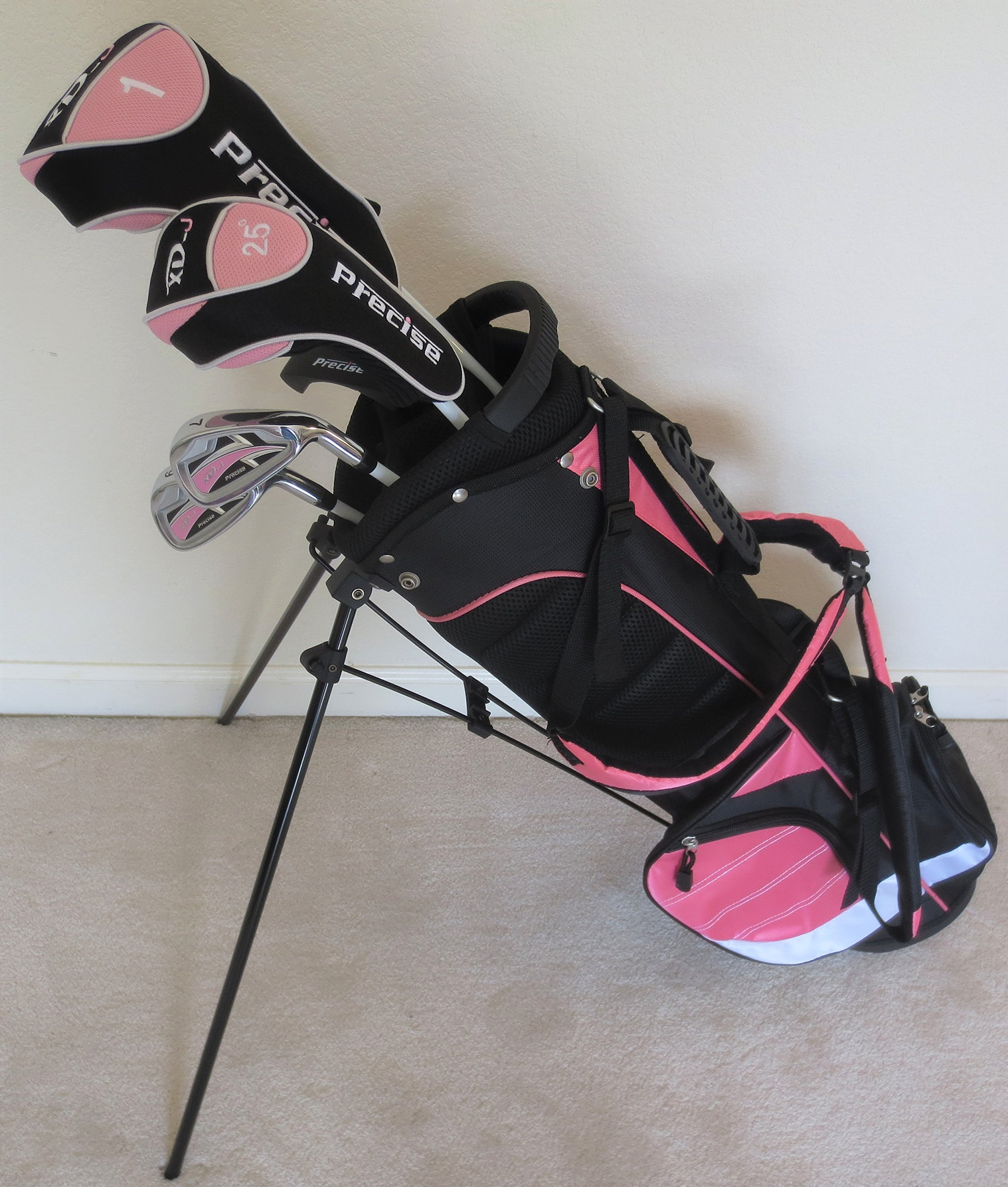 Girls Junior Golf Club Set with Stand Bag for Kids Ages 8-12 Pink Color Right Handed by PG Golf Equipment (Image #1)