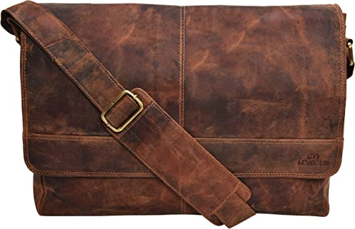 Genuine Leather Messenger Bag for Men and Women – 14 inch Laptop Bag for College Work Office by LEVOGUE COGNAC VINTAGE
