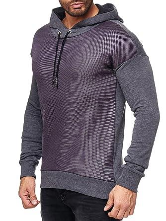 4b5d7938706 Red Bridge Hommes Pull à Capuche Manches Longues Basic Quadrillé Sweat-Shirt