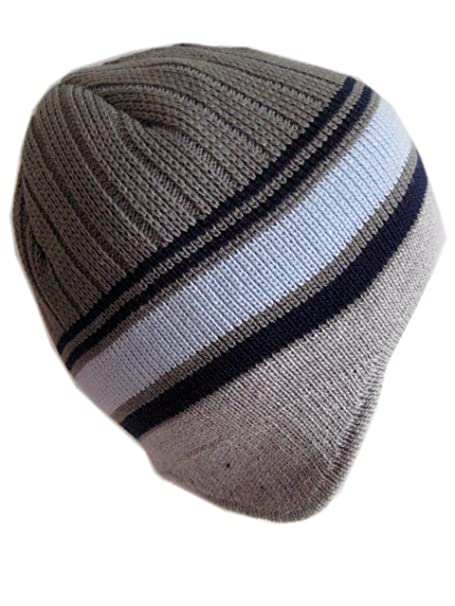 Amazon.com  Winter Hat for Boys Teens Warm Winter Beanie Aviator Style  Striped Hat M-193 (Charcoal Light Blue)  Clothing 9bcf2d17661