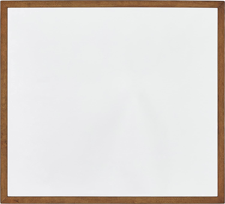 "Rivet Brecken Modern Mirror Wood Frame, 41"", Brown"