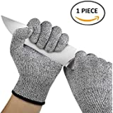 EzLife Knife Cut Resistant 1 pc Hand Safety Gloves for Kitchen, Industry, Sharp Items, Gardening, Multipurpose, Large (Black and White)