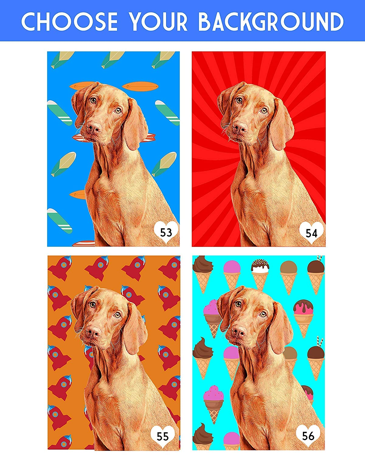 Custom Pet Portrait for Dog Dad Dog Mom Gifts Customized Pet Portrait Dog Paintings Office Decor Wall Art for Animal Lovers Wrapped Canvas Pop Art Print of YOUR Fur Baby