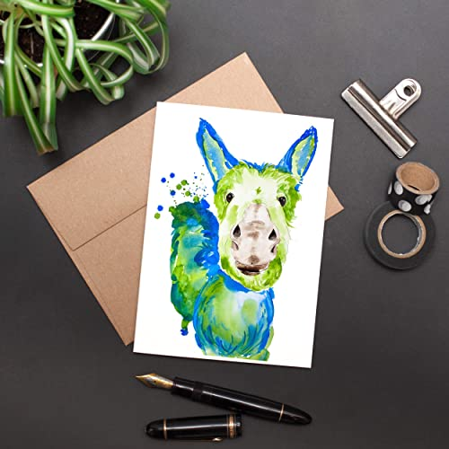 Image Unavailable Not Available For Color Greeting Card Donkey Watercolor Painting