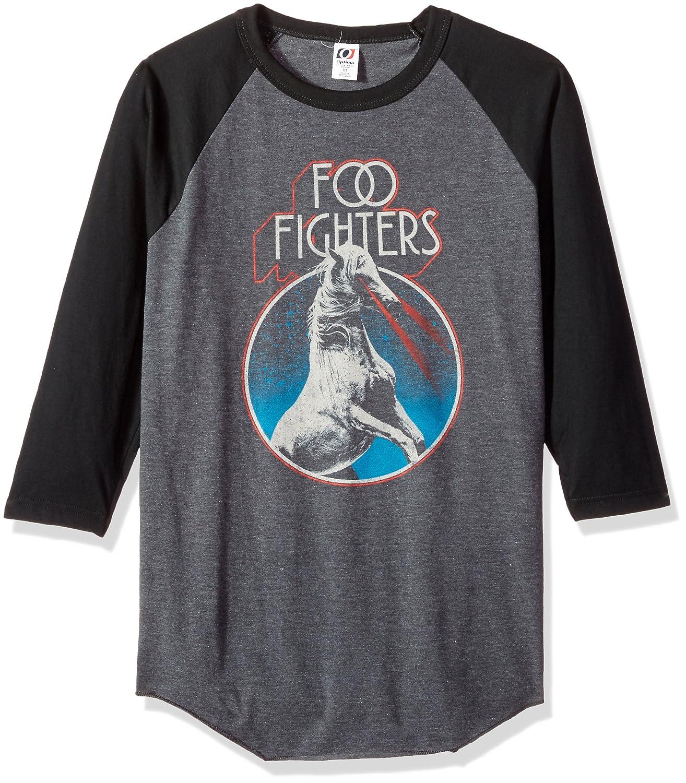 FEA Mens Foo Fighters Horse Circle Mens 3/4 Sleeve Raglan Shirt T-Shirt