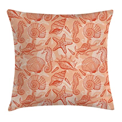 US SELLER 2pcs marine nautical seashell cushion cover couch pillow slipcovers