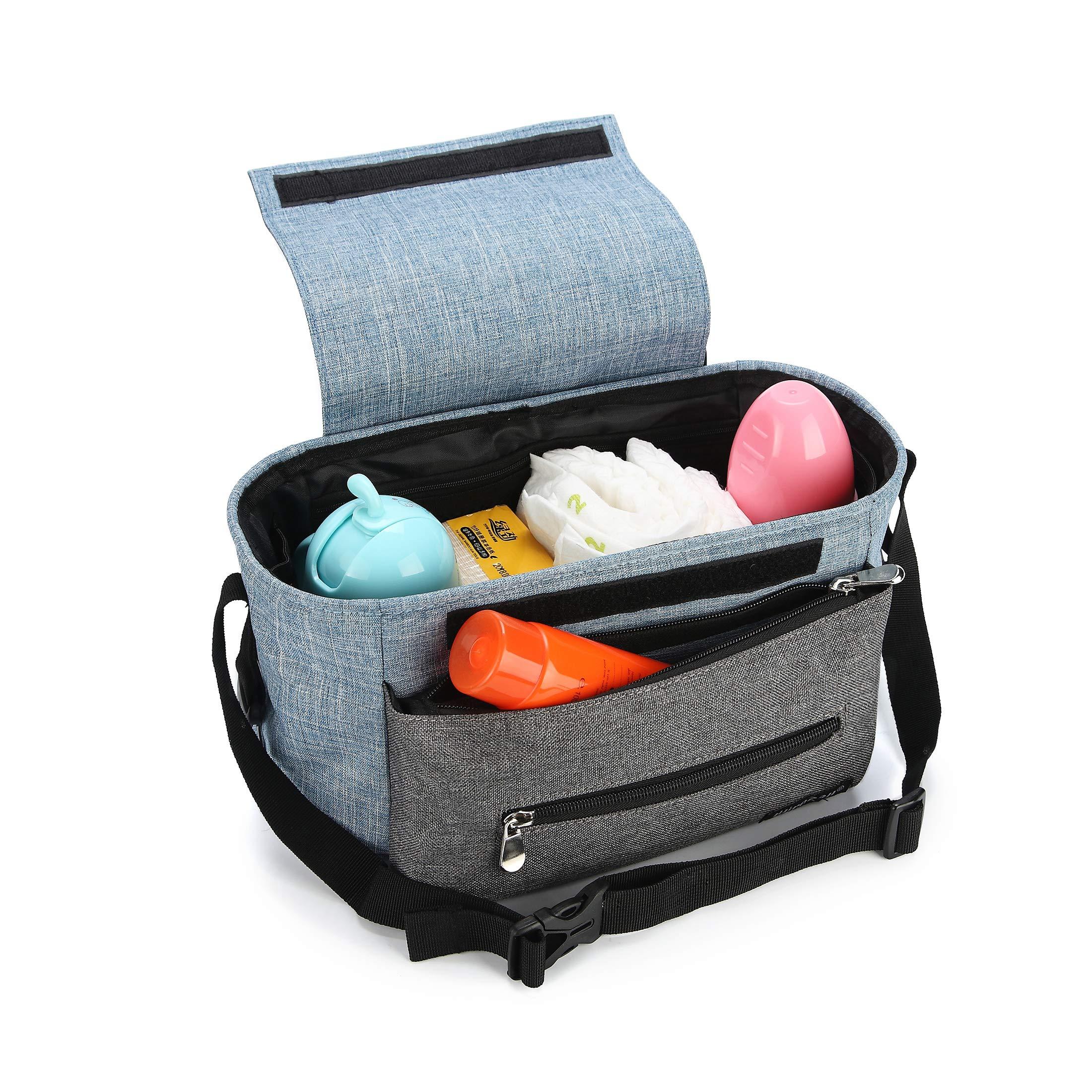Kinderwagen Organizer, Universale Baby Kinderwagentasche Buggy Tasche mit Stahlring und verstellbaren Bändern (Blau) product image