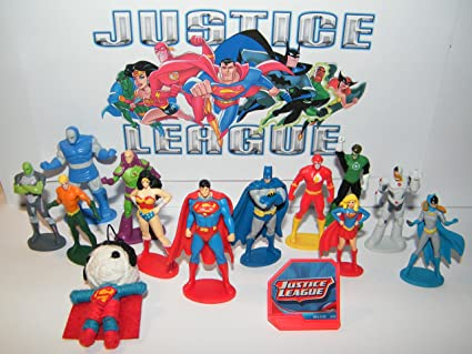 Amazon.com: Liga de la Justicia Deluxe Figure Set de 14 ...